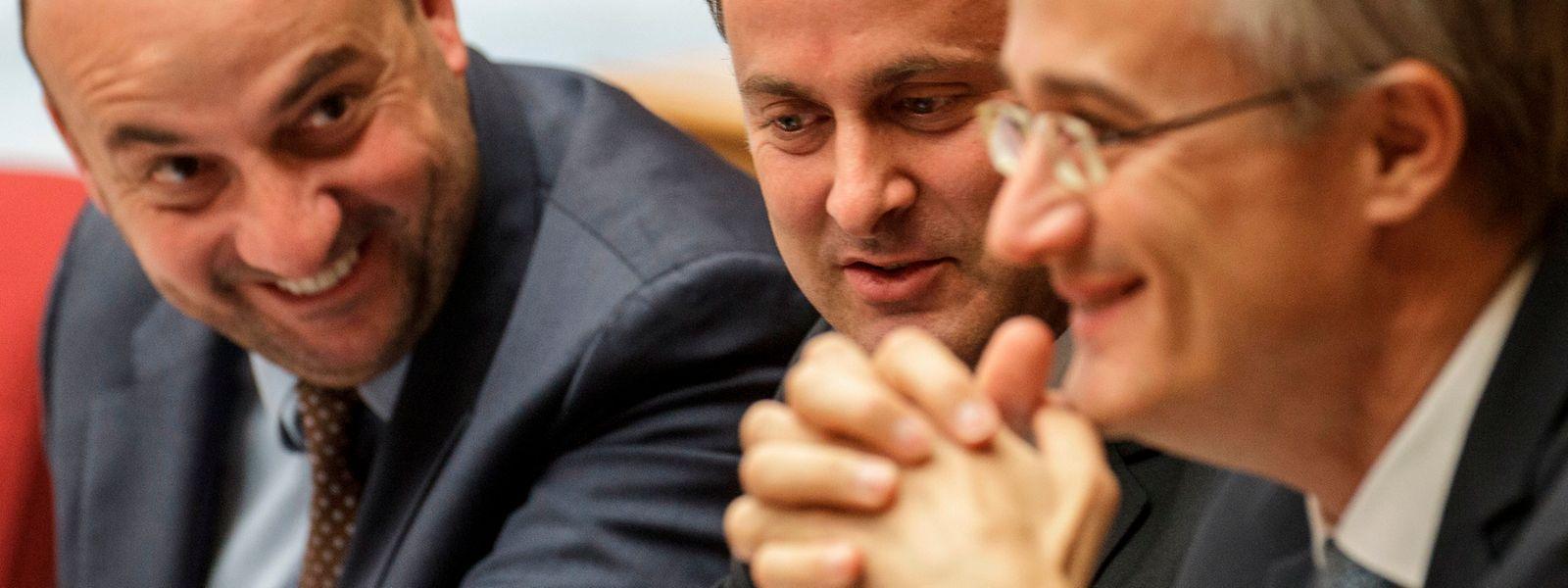Den Machern der ersten Dreierkoalition, Etienne Schneider (l.), Xavier Bettel (M.) und Félix Braz, dürfte das Lachen nach Bekanntgabe der Europawahlergebnisse von 2014 vergangen sein.