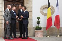 Visite de travail d'Emmanuel Macron, Mark Rute, Charles Michel et Xavier Bettel, au chateau de Bourglinster, le 06 Septembre 2018. Photo: Chris Karaba
