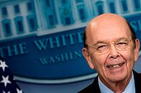 (FILES) This file photo taken on April 25, 2017 shows  US Secretary of Commerce Wilbur Ross speaking during a briefing at the White House in Washington, DC. Ross has business ties to a shipping firm linked to Vladimir Putin's inner circle, according to a vast leak of financial documents. The findings have emerged as part of the Paradise Papers released by the US-based International Consortium of Investigative Journalists (ICIJ). There is no suggestion that Ross acted illegally.  / AFP PHOTO / Brendan Smialowski